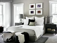 Not so much with the cowhide, but the pops of color above the bed are fun.
