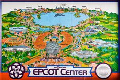 Epcot Center map, Walt Disney World. Probably early 1980s.