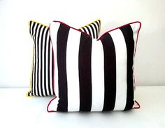 Black and White Striped Throw Pillow 18 by 18 by CushionsandMore