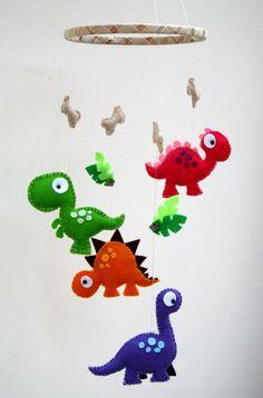 Dinosaur Felt Mobile - babys mobile - childrens mobile - multicoloured mobile