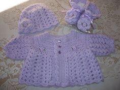Crochet Baby Girl Lavender Sweater Set by MADEWITHLOVEBYSUZIEQ, $70.00