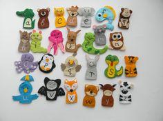 26 zoo-phonics animals Felt finger puppets by Rainbowsmileshop