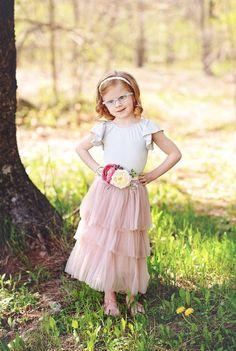 Girls Long Dusty Rose Tulle Skirt Ruffled with Flower Sash