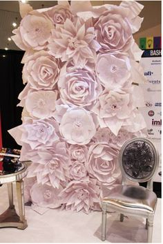 paper mache flower wall from luxe rentals nyc