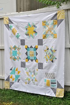 Modern Sampler Quilt Top (I love the sashing & borders)