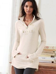 Wear it all weekend long, why don't ya? | Victoria's Secret Fleece Zip Tunic