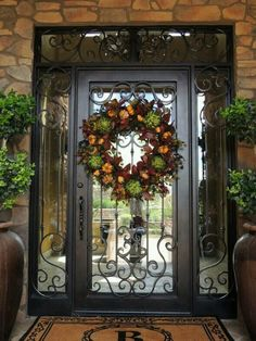 New Front Door Design Grand Entrance Wrought Iron Ideas Front Door Christmas Decorations, Christmas Entryway, Christmas Door, Tuscan Decorating, Door Decorating, Decorating Ideas, Front Door Design, Iron Doors, Iron Front Door