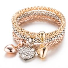 DOINSHOP Bracelet Crystal Bracelet Heart Flash Diamond Alloy Jewelry Foot Chains Birthday Bangle Gifts