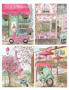 Set of 4 Vespa's in Paris Prints for Girl's | Paris France Art Prints for Girls | Paris Nursery | Montmarte Cafe | Personalized Girl's Name