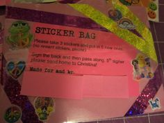 A close up of the Sticker Bag label that I use for my sticker bags. It explains how many stickers to take and replace, to sign it and where to send it to when completed. (I did block out my name/address though.