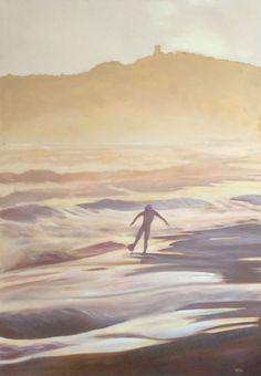Quadro Nuovo - Dipinto olio su tela - Paesaggio con calciatore