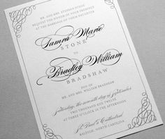 These classic wedding invitations are shown in shades of black and gray, but your wedding invitation set can be customized to any colors for final orders. #WeddingInvitations #WeddingCards #WeddingInvites #CustomWeddingCards