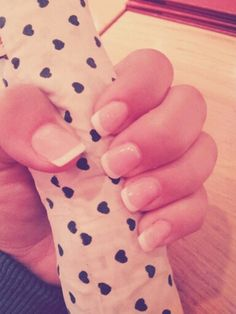 natrual french gel manicure short nails