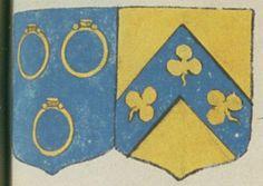 Joseph PEYRAUD, Escuyer, Sieur de la Chèze, Conseiller du Roy et juge magistrat au présidial de Poitiers, et Antoinette DU FLOS, son épouze. Portent : d'azur, à trois bagues d'or, les chatons de même en haut, posées deux et une ; acolé d'or, à un chevron d'azur, chargé de trois trèfles d'or | N° 151