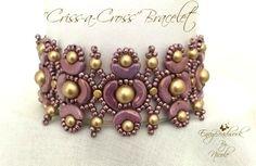 "Beading Pattern ""Criss -A- Cross Bracelet  in English D.I.Y."