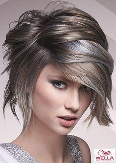 Medium haircuts for woman photo / going grey