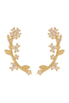 CZ By Kenneth Jay Lane Floral Vine CZ Delicate Ear Crawlers