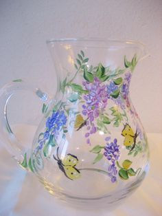 handpainted glass pitcher with wisteria mothers par TivoliGardens, $25.00