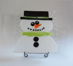 Fused Glass Snowman Dish Super Fun by LanieMarieDesigns on Etsy, $42.00