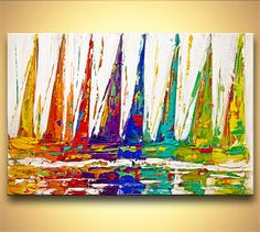 Colorful Sailboats Painting Original Contemporary Modern Abstract Seascape  Painting On Canvas Palette Knife By Osnat 36x24
