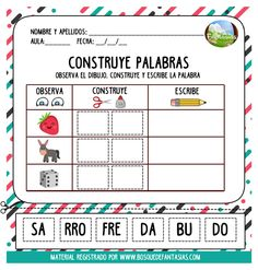 cuadernillo de silabas hoja 6 Classroom Labels, Classroom Organization, Math 2, 2nd Grade Classroom, Dual Language, Cbt, Head Start, Word Work, After School