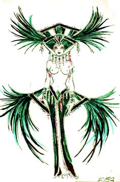 Emerald Showgirl finale costume by Bob Mackie - Jubliee Showgirl Costume, Vegas Showgirl, Burlesque Costumes, Fantasy Costumes, Girl Costumes, Katy Perry Dress, Vegas Tattoo, Fashion Art, Vintage Fashion