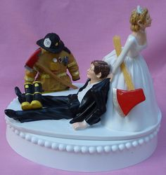 Wedding Cake Topper Fireman Fire Fighter Axe Groom Themed w/ Garter, Display Box