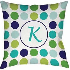Thumbprintz Dots Monogram Green Decorative Pillows