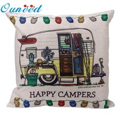 [Visit to Buy] Ouneed decorative cover pillow Square linen pillowcase Letter happy campers Toss Case Hidden Zipper Closure 2017 Gift 1pc Drop #Advertisement