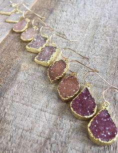 YOUR CHOICE OF COLOR & SHAPE! Druzy Earrings Agate Drusy Earrings Druzy by julianneblumlo