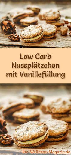 Low-Carb-Weihnachtsgebäck-Rezept für Nussplätzchen mit Vanillefüllung: Kohlenhydratarme, kalorienreduzierte Weihnachtskekse - ohne Getreidemehl und Zucker gebacken ... #lowcarb #backen #weihnachten