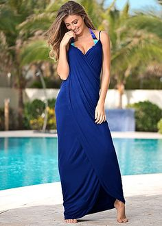 Wrap Maxi Dress in Sapphire Blue | VENUS