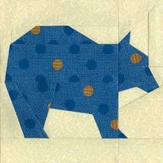 Easy Brown Bear Quilt Block Pattern for sale on etsy paper piecing