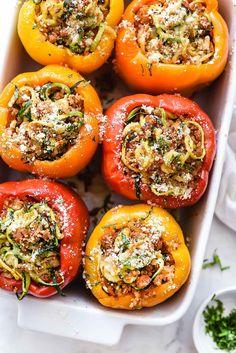Spiralized Zucchini, Quinoa and Turkey Sausage Stuffed Peppers | foodiecrush.com