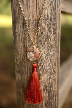 Beauty Of Fall Rust Orange Tassel Necklace at reddressboutique.com