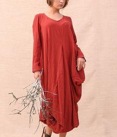 Irregular Design Loose Linen Dress-zenb.com SKU aa0352