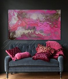 Art, abstract painting, large pink painting print, gold, rose, purple, print on…