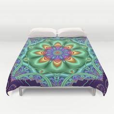 Fantasy spring flower in a kaleidoscope Duvet Cover