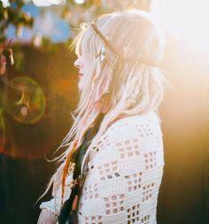 wild child dreamer // extra long feather headband / alphonse mucha inspired headdress / boho hippie flowerchild bohemian gypsy festival wear. $57.00, via Etsy.