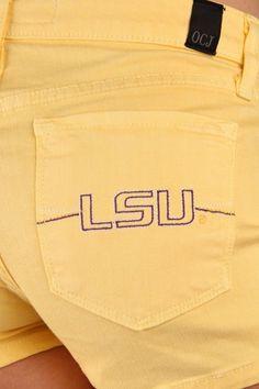 c6d22d93d8430 OCJ Apparel | Premium Collegiate Denim | LSU Tigers Original Shorts LSU in  Yellow Pastel | www.ocjapparel.com