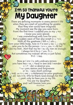 I'm So Thankful You're My Daughter – Gifty Art – Suzy Toronto: Gifts for Women Love You Daughter Quotes, Mother Daughter Quotes, I Love My Daughter, Son Quotes, Mother Quotes, Family Quotes, Best Quotes, Life Quotes, Beautiful Daughter Quotes