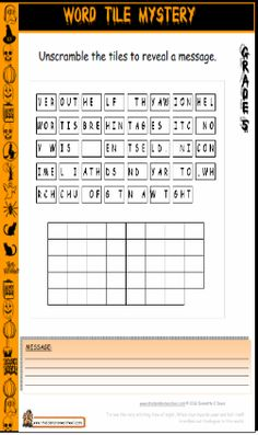 Grade 5 Halloween Worksheet - Cryptogram, Cryptic Message #HomeschoolFreebies #Halloween #Worksheets