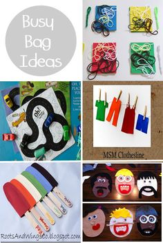 Good road trip busy bags.  Ideas for preschoolers but some will work for my kids too.  I love the silly faces!