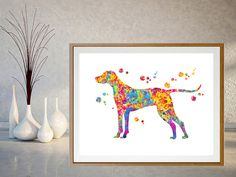 Hungarian Vizsla dog long tail Watercolor Print