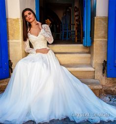crystal design bridal 2016 sheer long sleeves v neck lace bodice corset tulle skirt elegant modified a line weding dress chapel train (siena) fv
