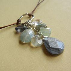 Leather and Stone necklace. Shell, moonstone, chalcedony, aqua, labradorite, iolite & quartz.