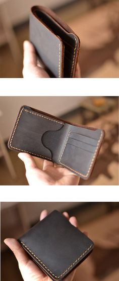 Handmade Mens Leather Wallet -Hand Sewing with excellent technique!   --This item is handmade leather wallet, The size is suitable to man, it is about