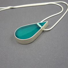 Silver resin necklace, aqua drop pendant, solid sterling silver, snake chain, modern necklace, unique jewelry