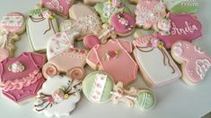 Vintage Baby Shower Sugar Cookies TheIcedSugarCookie.com Kessa Cakes