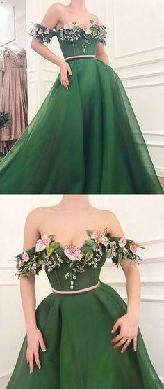 Green sweetheart off shoulder long prom dress, green evening dress, green formal dress